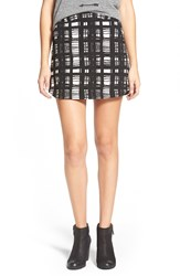 Lush Knit Miniskirt Black White Stripe