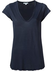 James Perse V Neck T Shirt Blue