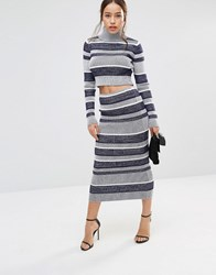 Finders Keepers Finder Playground Tactics Midi Skirt Navy Stripe