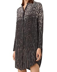 Allsaints Helle Sinai Silk Shirt Dress Taupe