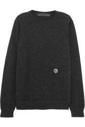 The Elder Statesman Embroidered Cashmere Sweater Charcoal