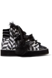 Nicholas Kirkwood Polly Neige Shearling Trimmed Metallic Canvas High Top Sneakers Silver