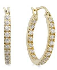 B. Brilliant 18K Gold Over Sterling Silver Cubic Zirconia In And Out Hoop Earrings 1 1 10 Ct. T.W.