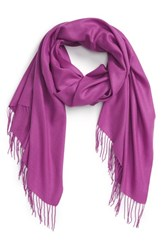 Women's Nordstrom Tissue Weight Wool And Cashmere Scarf Purple Purple Clover