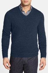 John W. Nordstrom Cashmere V Neck Sweater Regular And Tall Blue