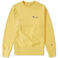 Champion Reverse Weave Small Script Logo Crew Sweat Yellow