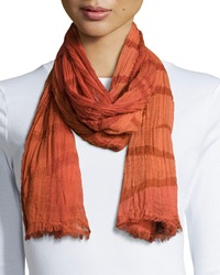 Lafayette 148 New York Striped Fringe Shawl Chili Red