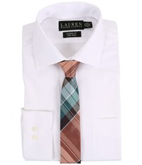 Lauren Ralph Lauren Pinpoint Spread Collar Classic Button Down Shirt White Men's Long Sleeve Button Up