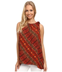 Vince Camuto Sleeveless Maasai Tribal Blouse W Tie Neck Tigerlily Women's Blouse Pink
