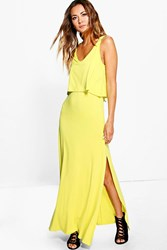 Boohoo Double Layer Maxi Dress With Side Split Chartreuse