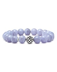Lagos Sterling Silver Caviar Ball Beaded Blue Lace Agate Bracelet 10Mm