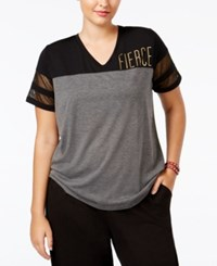 Material Girl Active Plus Size Sparkle Graphic T Shirt Only At Macy's Charcoal