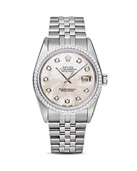 Pre Owned Rolex Stainless Steel And 18K White Gold Datejust Watch With Mother Of Pearl Dial And Diamond Bezel 36Mm White Silver