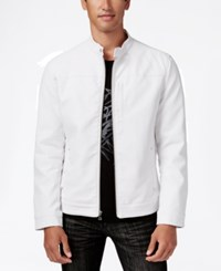 Inc International Concepts Men's Lukas Faux Leather Jacket Only At Macy's White