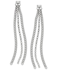 Abs By Allen Schwartz Earrings Silver Tone Rhinestone Chain Linear Drop Earrings