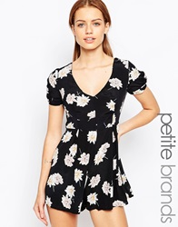 New Look Petite Floral Print Playsuit Multi