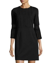 Nanette Nanette Lepore 3 4 Sleeve Crochet Lace Dress Very Black
