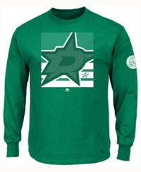 Majestic Men's Dallas Stars Slashing Long Sleeve T Shirt Green