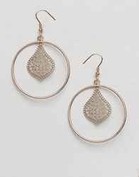 Ny Lon Nylon Rose Gold Plated Filigree Hoop Drop Earrings Rose Gold