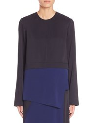 Cedric Charlier Asymmetrical Layered Colorblock Blouse Black Navy