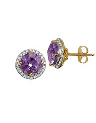 Lord And Taylor Amethyst Diamond 14K Yellow Gold Stud Earrings Purple