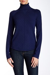 Cullen Quilted Turtleneck Sweater Blue