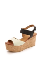 Coclico Maggie Cork Wedges Igloo Black Camel Natural