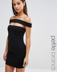 Missguided Petite Cut Out Panel Bardot Bodycon Dress Black Purple