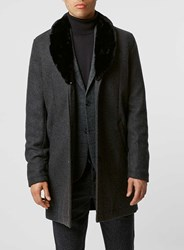Topman Charcoal Wool Rich Overcoat With Detachable Faux Fur Collar Grey