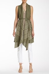 Johnny Was Embroidered Linen Vest Green