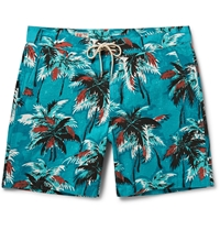 M.Nii Cocoa Palms Printed Cotton Canvas Mid Length Swim Shorts Blue