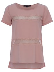 French Connection Polly Plains Shortsleeved Roundneck Top Ballet Blush