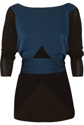 Vionnet Belted Chiffon Paneled Crepe And Stretch Silk Crepe De Chine Top