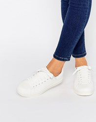 New Look Snake Printed Lace Up Trainer White