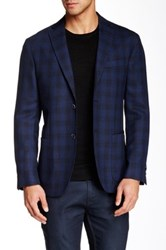 Zanetti Blue Plaid 2 Button Side Vent Modern Fit Wool Sport Coat