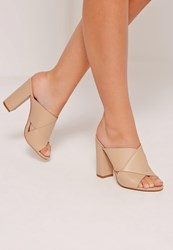 Missguided Cross Strap Block Heeled Sandals Nude