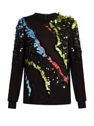 Versace Paillette Embellished Silk Georgette Top Black Multi