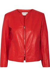 Sandro Victoria Leather Jacket Red