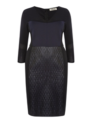 Persona Dieci Scuba Panel Shift Dress With Sheer Detail Navy