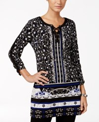 Jm Collection Printed Lace Up Tunic Only At Macy's Black Roma Medallion