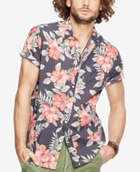 Denim And Supply Ralph Lauren Floral Print Poplin Sport Shirt Black