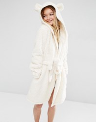 Asos Fluffy Cloud Robe With Ears Cream