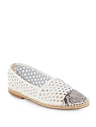 Alexandre Birman Python And Woven Leather Espadrille Flats Natural White