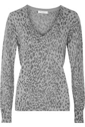 Equipment Cecile Leopard Print Cashmere Sweater Gray