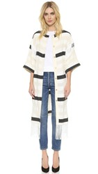 Rodebjer Irene Fringe Coat Black White