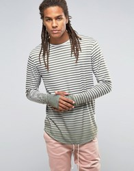 Granted Striped Longsleeve T Shirt Khaki Green