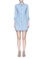 J Brand 'Bacall' Frayed Hem Chambray Shirt Dress Blue