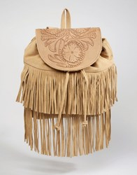 Asos Suede Fringe Backpack With Embossed Flap Brown