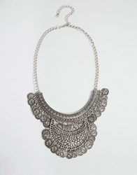 Ny Lon Nylon Statement Coin Necklace Silver