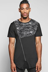 Boohoo Asymmetric Panel T Shirt With Zip Black